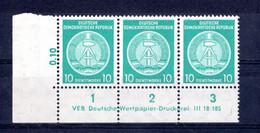 DDR  Michel # Dienstmarken 35 By ** DV (Druckvermerk)  3-er Streifen - Sin Clasificación