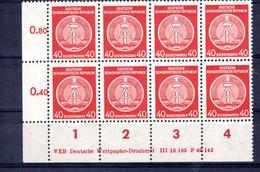 DDR  Michel # Dienstmarken 39 ** DV (Druckvermerk)  8-er Block - Sin Clasificación