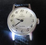 OMEGA GENEVE - Montre Mécanique De Dame - Bracelet Cuir Noir - Fonctionne Parfaitement - Montres Anciennes