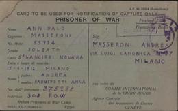 Guerre 40 Notification Of Capture Only Prisoner Of War Prisonnier Italien Camp 308 Mustafa Barracs Egypte 26  4 43 - Storia Postale