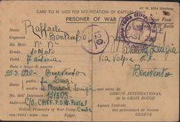 Guerre 40 Notification Of Capture Prisoner Of War (italien) Egypte Camp ? 25 7 42 Censure Angleterre East 200 + Italie - Storia Postale