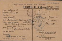 Guerre 40 Notification Of Capture Prisoner Of War (italien) Egypte Camp ? 20 1 41 Censure Egypte + Italie X2 - Storia Postale