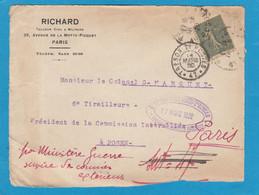 DEVANT DE LETTRE ADRESSEE AU COLONEL,CHEF DE LA MISSION FRANCAISE A POSEN (POZNAN),POLOGNE.1920 - WW I
