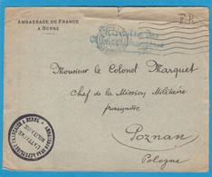 DEVANT DE LETTRE ADRESSEE AU COLONEL,CHEF DE LA MISSION FRANCAISE A POSEN (POZNAN),POLOGNE.1919. - WW I