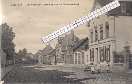 """CAPPELLEN-KAPELLEN """" ANTWERPSCHE STEENWEG AAN DE MEISJESSCHOOL""""HOELEN N°4975 UITGIFTE 1910 TYPE 5 - Kapellen"""