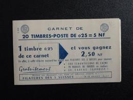 M1 - Decaris Carnet 20 Timbres YT 1263-C3 - 15/2/61   Pub: 1: 3-Suisses - 2: Air France- 3: Frimatic - 4: Ecole - Definitives
