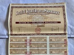 Sté  SUCRIÈRE  De  La  MAHAVAVY ( Domaine De L' ANKARATRA ) ------ Action  De 1.350 Frs  Malgaches - Landwirtschaft