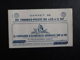 M1 - Decaris Carnet 20 Timbres YT 1263-C3 - 13/3/61  Pub: 1: Assurances - 2: 3 Suisses- 3: Grospiron - 4: Ecole - Definitives