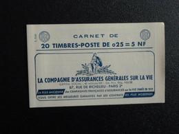 M1 - Decaris Carnet 20 Timbres YT 1263-C3 - 14/11/1960  Pub: 1: Assurances - 2: Horlogerie- 3: 3 Suisses - 4: Ecole - Definitives