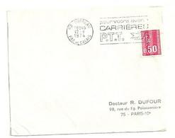 PAS De CALAIS - Dépt N° 62 = OUTREAU 1974 =  FLAMME à DROITE =  SECAP ' CARRIERES PTT / Avenir ' - Annullamenti Meccanici (pubblicitari)