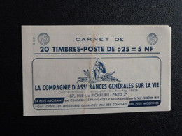 M1 - Decaris Carnet 20 Timbres YT 1263-C3 - 4/4/1961 Haut  Pub: 1: Assurances - 2: Grammont- 3: 3 Grospiron - 4: Ecole - Definitives