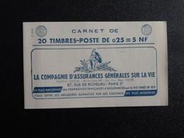 M1 - Decaris Carnet 20 Timbres YT 1263-C3 - 12/1/1961 Haut  Pub: 1: Assurances - 2: Horlogerie- 3: 3 3Suisses - 4: Ecole - Definitives
