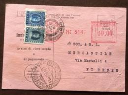 ANNULLO A TARGHETTA ROSSA FIRENZE 10/11/47  - L.10,00 Fasci Scarpellati Su R.R. + MARCHE DA BOLLO L.30+4 - 1946-60: Marcophilia