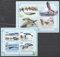 TG1080 2011 TOGO TOGOLAISE FAUNA FISH & MARINE LIFE WHALES SAUVER LES BALEINES 1KB+1BL MNH - Balene