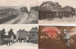 4 CPA:VERDUN (55) TRAIN GARE,SOLDAT HALTE LÀ,LA GARE FIACRE,MILITAIRE CITADELLE - Verdun