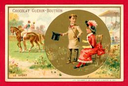 Chocolat Guérin Boutron, Très Jolie Chromo Lith. Vieillemard, Personnages, Le Sport, équitation - Guerin Boutron