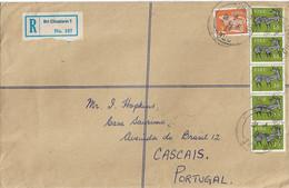 Ireland , 1981 , Bri Chualann 1 Registration Label , Sraid Mhur Bré And Cascais Postmark , Dog And Deer Stamps - Cartas