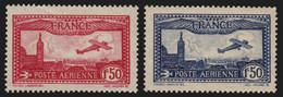 Poste Aérienne N°5/6, Avion Survolant Marseille 1930, Neufs ** Sans Charnière - 1927-1959 Nuovi
