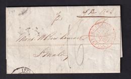 DDZ 605 - Lettre Précurseur LONDRES 1834 Vers ST MALO Via MORLAIX - Entrée ANGLETERRE PAR CALAIS - 16 Sols à L'encre - Marques D'entrées