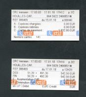 """Jeu De 2 Tickets """"Relevé Journalier De Distributeur De Billets 17/01/2018 - Gare De Houilles"""" Ticket De Train SNCF RATP - Andere"""