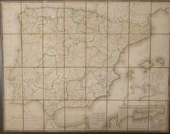 1823. CARTE DES ROYAUMES D'ESPAGNE ET DE PORTUGAL OU L'ON A MARQUE LES ROUTES DE POSTE. Mapa Cuartelado Y Entelado Por E - Unclassified