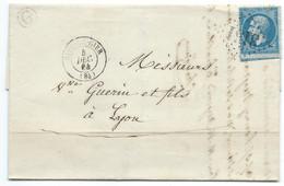 N° 22 BLEU NAPOLEON SUR LETTRE / RIVE DE GIER POUR LYON / 1864 / BOITE RURALE G SAINT CHAMOND - 1849-1876: Klassik