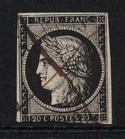 BELLE Et PEU COURANTE OBLITÉRATION PLUME + CAD De JANVIER 1849 Sur CERES NON DENTELÉ N° 3 - 1849-1850 Ceres
