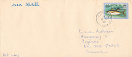 Tuvalu Cover Sent Air Mail To Denmark Single Franked Yellowfin Tuna Overprinted OFFICIAL - Tuvalu