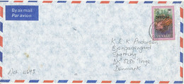 Tuvalu Air Mail Cover Sent To Denmark Single Franked LIONFISH Overprinted OFFICIAL - Tuvalu