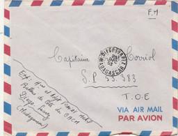 Cachet DIEGO SUAREZ Madagascar 23/12/1953 Sur Lettre Avion FM Pour SP 53383 TOE ( Indochine ) - 1921-1960: Modern Period