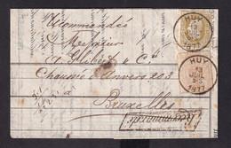 DDZ 505 -- Lettre Recommandée (Griffe Parallélogramme) TP 28 Et 32 HUY 1877 Vers Bruxelles - Contenu Banque De HUY - 1869-1883 Leopold II
