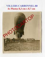 VILLERS CARBONNEL-BALLON D'Observation-Fesselballon-4x PHOTOS Allemandes-Guerre 14-18-1 WK-MILITARIA- - Altri Comuni
