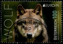 Gefährderte Wildtiere Wolf  Österreich 2021 Gestempelt/USED - 2011-... Afgestempeld