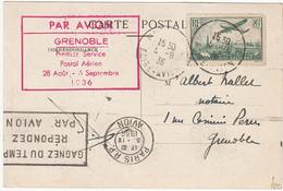 FRANCE Oblitération Grenoble Foire-Avion, 5 Sept. 1936 Vers Paris. Yvert No. PA8 Timbre Seul. - Covers & Documents