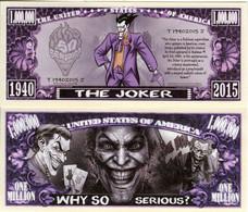 USA 1 Million Dollar Novelty Banknote 'The Joker' (DC Comics - Warner Bros) UNC & CRISP - Autres - Amérique