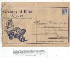 GANDON 12FR OUTREMER SEUL GRANDE LETTRE ENTETE GRAINES CLAUSE BRETIGNY S ORGE TARIF IMPRIME 3EME PEU COMMUN - 1945-54 Marianne (Gandon)