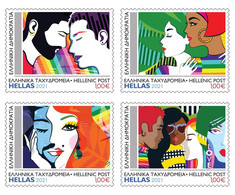 GREECE STAMPS 2021/LGBTQI+ WE SUPPORT YOU, BLOCK OF 4-10/6/21-MNH-SELF ADHESIVE STAMPS - Unused Stamps
