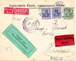 GERMANY Brief Köslin (Koszalin, Polen) 8. April 1916 - Durch Eilboten Bote Bezahlt Rotes Etikett Nach Niederlande - Covers & Documents