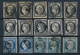 EB-123: FRANCE: Lot Avec N°3/3a/4  Obl (15) 2ème Choix (courts Mais Pas De Clairs)  Lot 2 - 1849-1850 Ceres