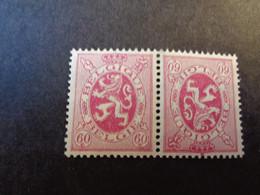 KP 9 - TB 9 Xx MNH 60c Lilaroze - Rose-lilas Herladieke Leeuw - Lion Heraldique - Inverted (tête-bêche)
