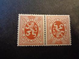 KP 10 - TB 10 Xx MNH 70c Roodbruin - Brun-rouge Heraldieke Leeuw - Lion Heraldique - Inverted (tête-bêche)