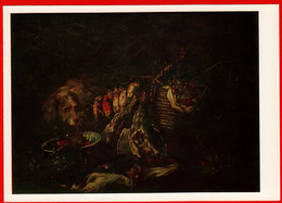 07460 Faith Yang Still Life Guard Dog Hunting Game Broken Quail Hunting Woodcock Grapes 1987 USSR Soviet Art Clean Card - Vigne
