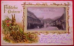 Cpa / AK GRUSS AUS WOLFACH , FRÖHLICHE OSTERN , 1901 , Gaufrée , ATTELAGE LAPINS Humanisés , GERMANY EARLY PC - Wolfach
