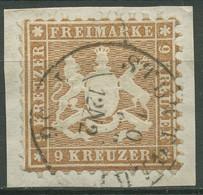 Württemberg 1863 Wappen 9 Kreuzer 28 A Gestempelt, Zahnfehler - Wuerttemberg