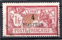 LEVANT - (Bureaux Français) - 1902-20 - N° 21 - 4 Pi. S. 1 F. Lie-de-vin - (Type Merson) - Usati