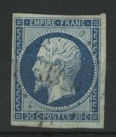 N° 14 Ad 20 Ct Bleu Sur Vert Type I Cote 180 €, Signé CALVES. TB - 1853-1860 Napoleon III