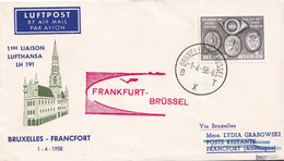 Lufthansa - 1 Ere Liaison Bruxelles - Francfort - LH 191 - 1/4/1958 - Airmail