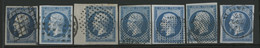 N° 14 (x8) Oblitération GRILLE + ROULEAU DE GROS POINTS + C. à D.+ 4 Cercles De Points Cote 250 €, TB (voir Description) - 1849-1876: Classic Period