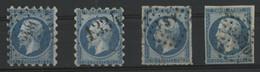 PIQUAGE SUSSE Sur N° 14 A Et 14 B + Percé En Ligne Sur N° 14 B + PC 3710 (voir Description) - 1853-1860 Napoleon III