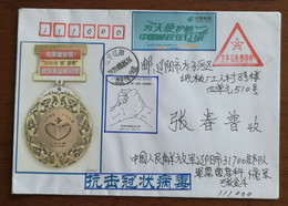 CN 20 Fighting COVID-19 Pandemic Different Propaganda Labels Used On Triangle Compulsory Soldiers Free Mail Cover - Enfermedades